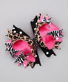 Hey, I found this really awesome Etsy listing at https://www.etsy.com/listing/177015552/deluxe-6-inch-hot-pink-animal-print-bow