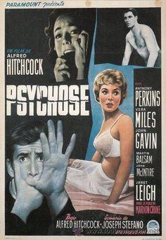 Alfred Hitchcock. Postal reproduciendo cartel francés película Psicosis