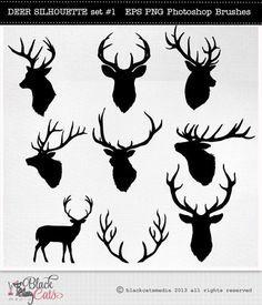 Deer Head Silhouettes – Reindeer – Antlers Clipart – Deer Clip Art – vector EPS PNG and Photohshop Brushes- deer cliparts- deer silhouettes - Diy Best Tattoo ideas Hirsch Silhouette, Deer Head Silhouette, Reindeer Silhouette, Cervo Tattoo, Hirsch Tattoo, Illustrator, Silhouettes, Reindeer Antlers, Art Floral