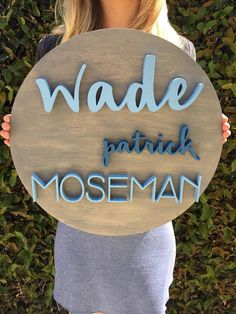 16 Round Custom Name Wood Sign Wood Cutout Nursery