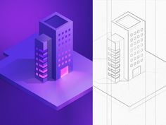 Daily challenge illustration ( isometric building ) designed by Walid Beno. the global community for designers and creative professionals. Web Design, Vector Design, Game Design, Vector Art, Graphic Design, Flat Design, Building Illustration, Flat Illustration, Digital Illustration