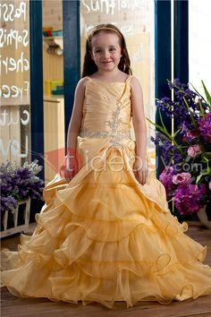 Lovely Ball Gown Square Floor-length Tiered Flower Girl Dress : Tidebuy.com