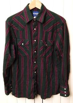 Wrangler Mens Size Large Shirt Western Pearl Snap Button Green Red Stripes   #Wrangler #Western