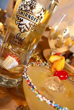 Pineapple Upside Down Cake~A great Pineapple Upside Down Cake Drink made with SMIRNOFF Iced Cake Flavored Vodka. Sadly, I can't make a virgin version of this one,,,or CAN I? hmmm...