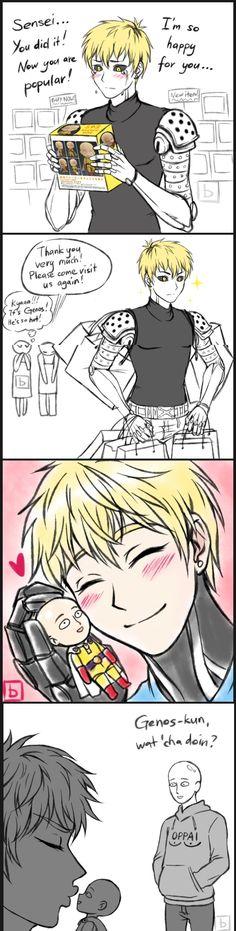 A garota disse:eo genos,ele é tão gostoso e depois temos uma imagem do genos beijando uma figure do Saitama,assim destruindo as ispectativas dela :v