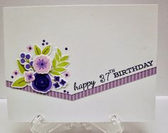 Lovely diagonal detail on this BD card - flowers diecuts