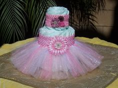 KIT - Tutu Diaper Cake Pink: It's A Girl, Baby Shower Decoration, Diaper Cake Set, Baby Shower Centerpieces, Unique Baby Shower Centerpieces