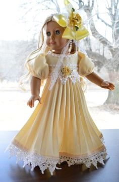 """First Beams of Spring"" Regency Dress Gown for 18"" American Girl Caroline Lumi 