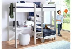 Mezzanine bed with worktop + shelves promo price Child's bed 3 Swiss . - Ikea DIY - The best IKEA hacks all in one place Loft Beds For Small Rooms, Loft Beds For Teens, Bunk Bed Rooms, Bunk Bed With Desk, Loft Bed With Couch, Adult Loft Bed, Loft Bunk Beds, Cute Bedroom Ideas, Room Ideas Bedroom