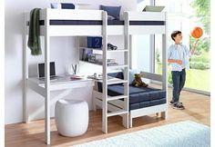 Hoogslaper all in: bed, bureau, kast, knuffelhoek (trap in midden)