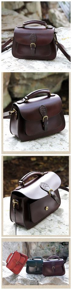 LISABAG--Handcrafted Leather Messenger Handbag Leather Shoulder Bag Small Satchel in Coffee AK04