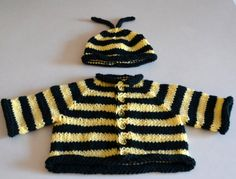 hand knit baby 'bee' sweater and cap ... etsy