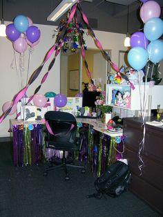 Mary Birthday, Happy Birthday Sis, 40th Birthday, Office Birthday Decorations, Cubicle Decorations, Cubicle Ideas, Office Cube, Office Parties, Work Desk