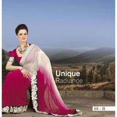Shaded White and Rani Pink Chiffon saree