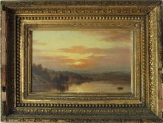 19th century American oil on canvas Luminist shore scene, 7 by 11 inches, framed. Condition: good, cracquelure, lined.