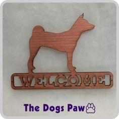 Laser Cut Basenji Welcome Sign #basenji #shopthedogspaw