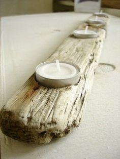 porte-bougies magnifique en bois flotté