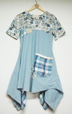 M/L Long Lagenlook Boho Shabby Chic Tunic Dress by PrimitiveFringe