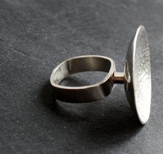 Raised Silver Textured Leaf Ring by fugudesigns