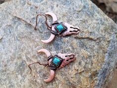 Cowgirl BLING copper LONGHORN STEER SKULL EARRINGS Southwestern Gypsy  #Unbranded #PIERCED