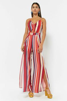 Product Name:Stripe Crepe Cami Jumpsuit, Category:dress, Jumpsuit Elegante, Leather Peplum, Jumpsuit Pattern, Rompers Women, Women's Rompers, Casual Elegance, Fashion Outfits, Womens Fashion, Beautiful Outfits