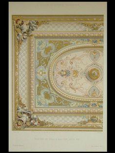 PLAFOND SALLE A MANGER LOUIS XIV - 1900 - GRANDE LITHOGRAPHIE, DECORATION