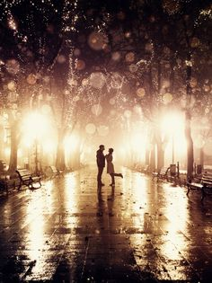 Couple walking at alley in night lights. Photo in vintage style,By Alika