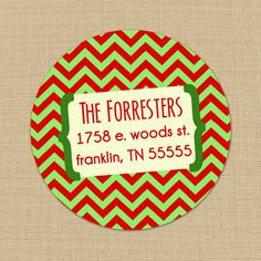 Christmas Chevron - CUSTOM Christmas Address Labels or Stickers by PoshGirlBoutique