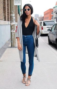 Bodysuit and high-waisted jeans makes your legs appear longer. | Stylist Secrets: How to Make Your Legs Look Longer