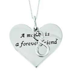 Sterling Silver Antiqued CZ A Mother Is A Forever Friend 18in Necklace QSX508