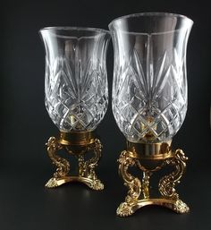 hurricane lamps for candles | Vintage Hurricane Lamps Candle Holders Godinger 24% Crystal Lead with ...