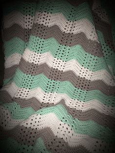 Mint green, white and grey crochet baby blanket
