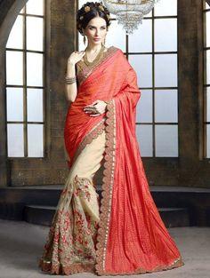 Orange and Cream Tussar Silk Saree with Zari Embroidery Work