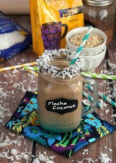 Mocha Coconut Morning Smoothie -- Wake up to this delicious smoothie ready to serve in 10 minutes. It's perfect for a busy morning. Recipe and photo by blogger, Jess Gonzalez of www.onsugarmountain.com