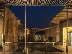 The Floating Bamboo Courtyard Teahouse by HWCD in Yangzhou, China is built from bamboo and bricks and is a zen spot for sipping on some tea.