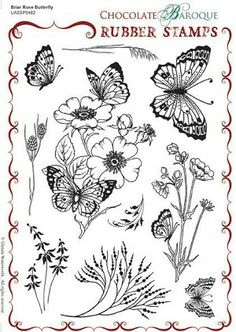Briar Rose Butterfly Unmounted Rubber stamp sheet - A5