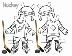 Hit the ice with some hockey player paper dolls! Your little sports stars will love coloring and cutting out their own hockey dolls, plus they'll be having fun as they build fine motor skills. Hockey Birthday Parties, Hockey Party, Ice Hockey Players, Hockey Teams, Hockey Girls, Hockey Mom, Sports Activities, Art Activities, Hockey Crafts