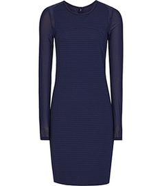Rita Indigo Lace-sleeve Bodycon Dress - REISS