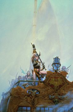 Elric of Melniboné | Art by Michael Whelan for the cover of Michael Moorcocks's _The Sailor on the Seas of Fate_ (Daw 1977; Grafton 1984) Also used for _Elric_ (Gollancz UK, 2001), an omnibus edition of _The Bane of the Black Sword_ and _Stormbringer_, and for Cirith Ungol's _Paradise Lost_ (1991) #elric