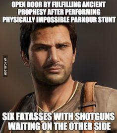 Replaying the original Uncharted. Fun game, no logic