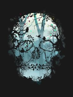 Dark Forest Skull Art Print by Sitchko Igor