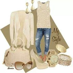 Cream sequence tank and jean capris