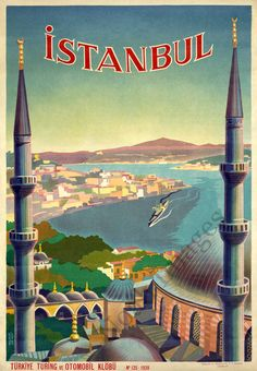 Istanbul vintage travel poster repro 24x36