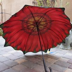 Unique Red Daisy Flower One-eyed Susan Umbrella Parasol Double Layer