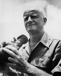Fleet Admiral Chester Nimitz visiting the B-29 Base on Guam in the Marianas, c. 1940's.