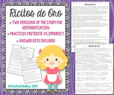 Ricitos de Oro - Two versions of the classic Goldilocks tale to practice the preterite and imperfect tenses in Spanish, plus comprehension questions $