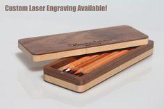 Wood pencil box  Pencil case  Pen case  Pen di VenaturArtistica