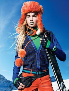 Pringle of Scotland sweater, Under Armour turtleneck, Bogner pants, Papillon hat, Gordini goggles, Sermoneta gloves, Puma Time watch, Y-3 belt, LeSportsac fanny pack, Rossignol skis.
