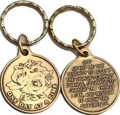 RecoveryChip Fog Light Prayer Color Lighthouse Keychain Bronze Step 12 Spiritual Medallion Key Chain
