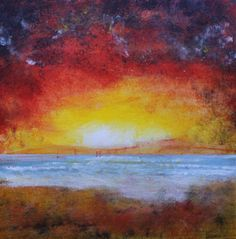 ARTFINDER: To the Beach by David Coldwell - A wonderful sunset image with dreamy beach and moving surf slowly covering the sand.  Painted onto canvas board using the finest artists' acrylics and fini...